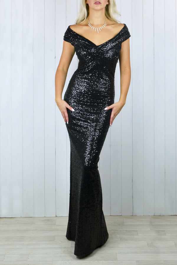 Diana Bardot Black Sequin Maxi Dress