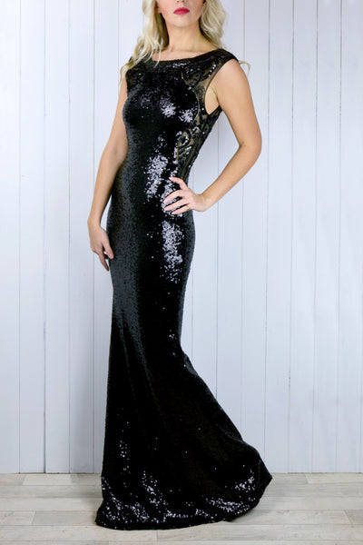 Jasmine Black Sequin Plunge back Dress