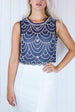 Venicia Blue & White Embellished Dress