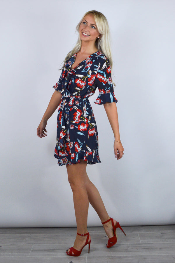 Clare Floral Frill Dress in Navy Blue