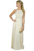 cream Lace Panelled Maxi Dress front