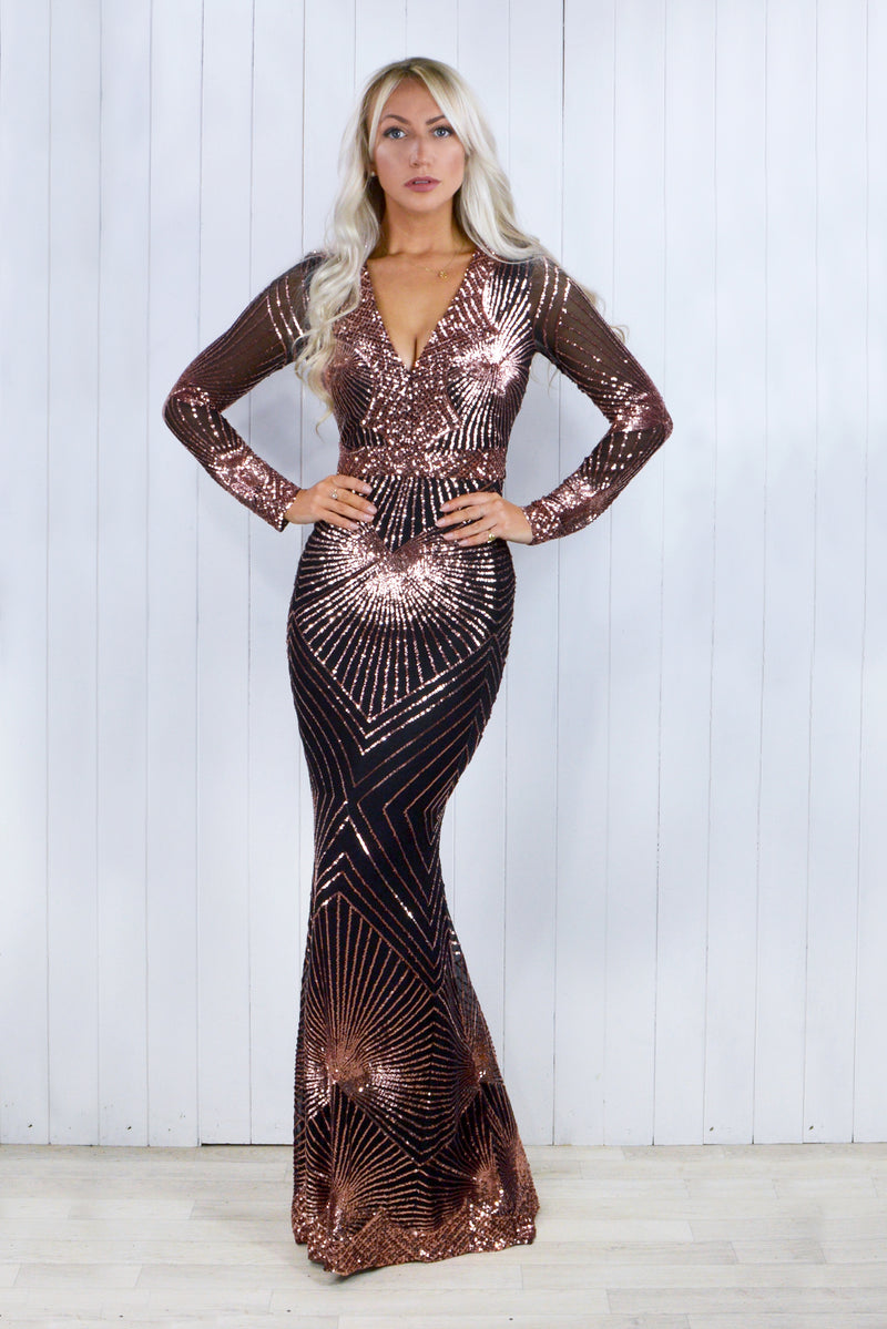 Giselle Rose Gold Sequin Geometric Fishtail Dress