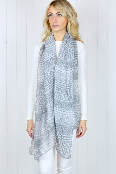 Grey and White Aztec Chiffon Scarf