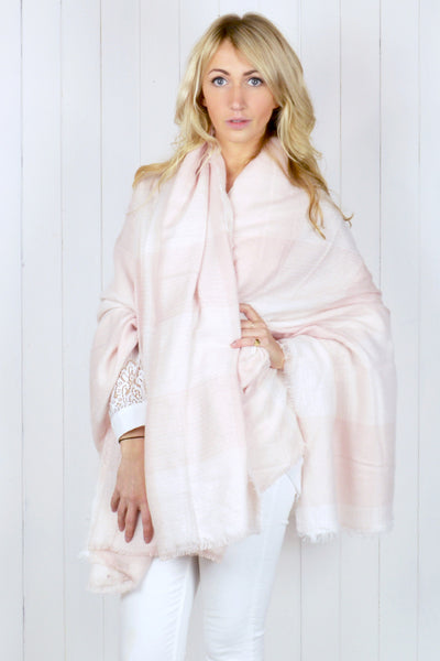 Light Pink Oversize Check Scarf