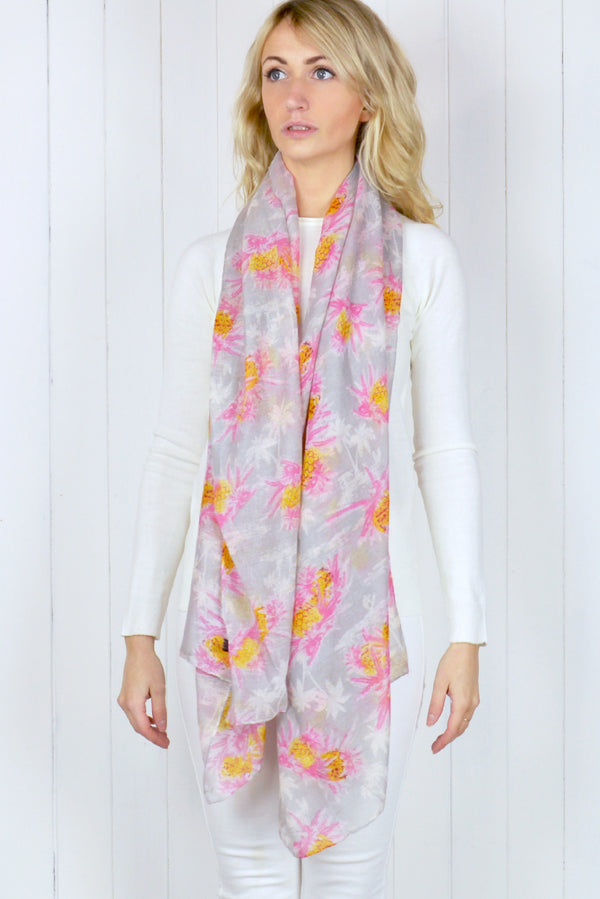 Grey & Pink Pineapple Chiffon Scarf