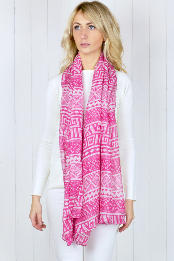 Pink and White Aztec Chiffon scarf