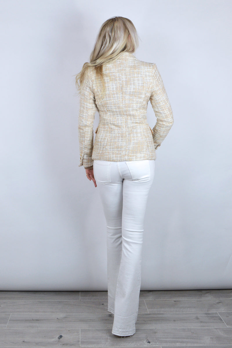 Connie Double Breasted Beige Tweed Blazer
