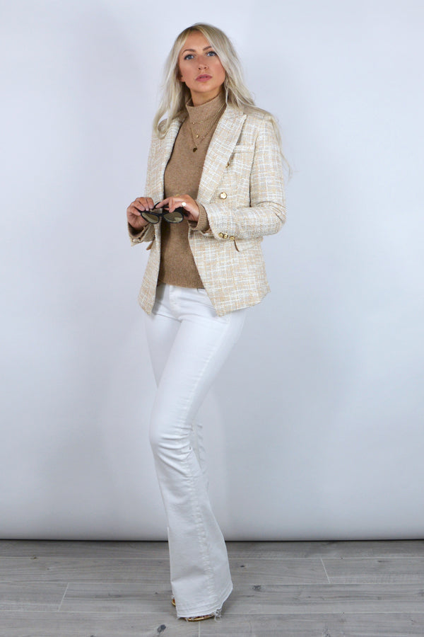 Connie Double Breasted Tweed Blazer