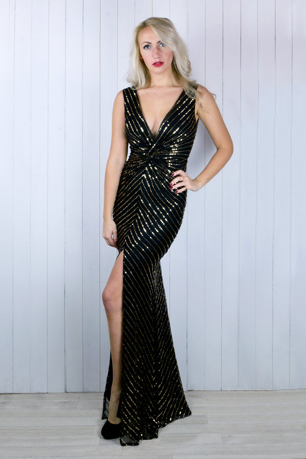 Audrey Black & Gold Sequin Plunge Dress