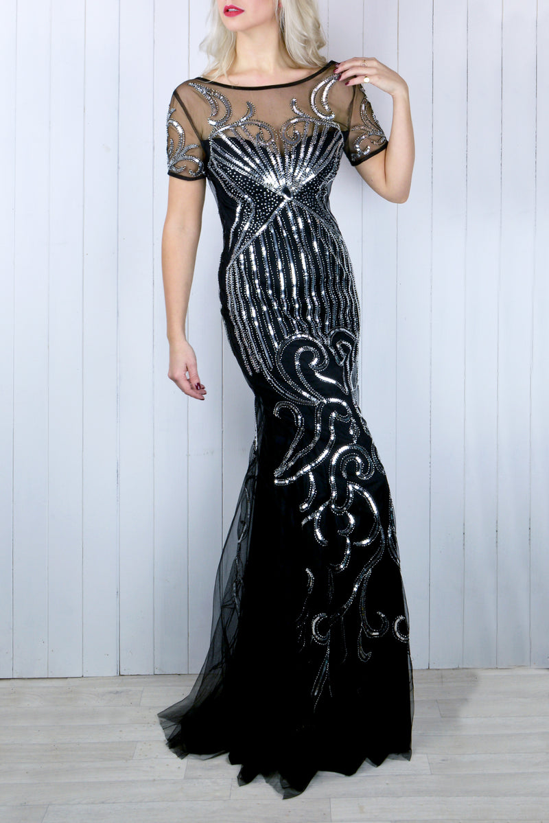 Ivy Embellished Black and Silver Dress