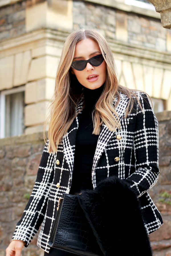 Connie Double Breasted Black & White Check Blazer