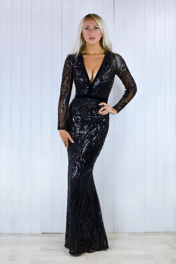 Naomi Black Sequin Baroque Fishtail Dress