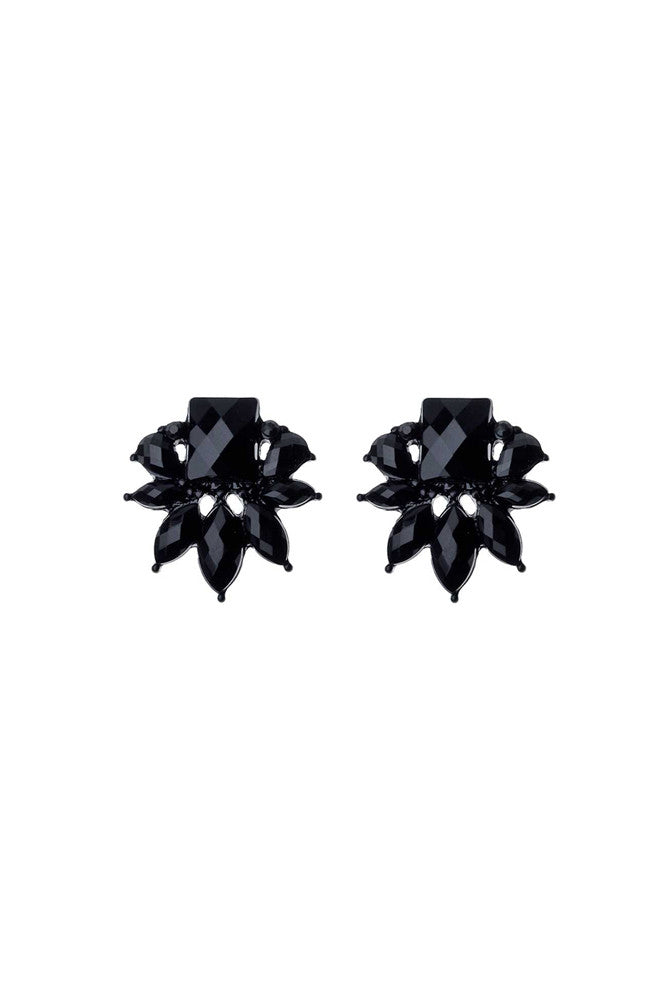 Jet Black Cluster Earrings