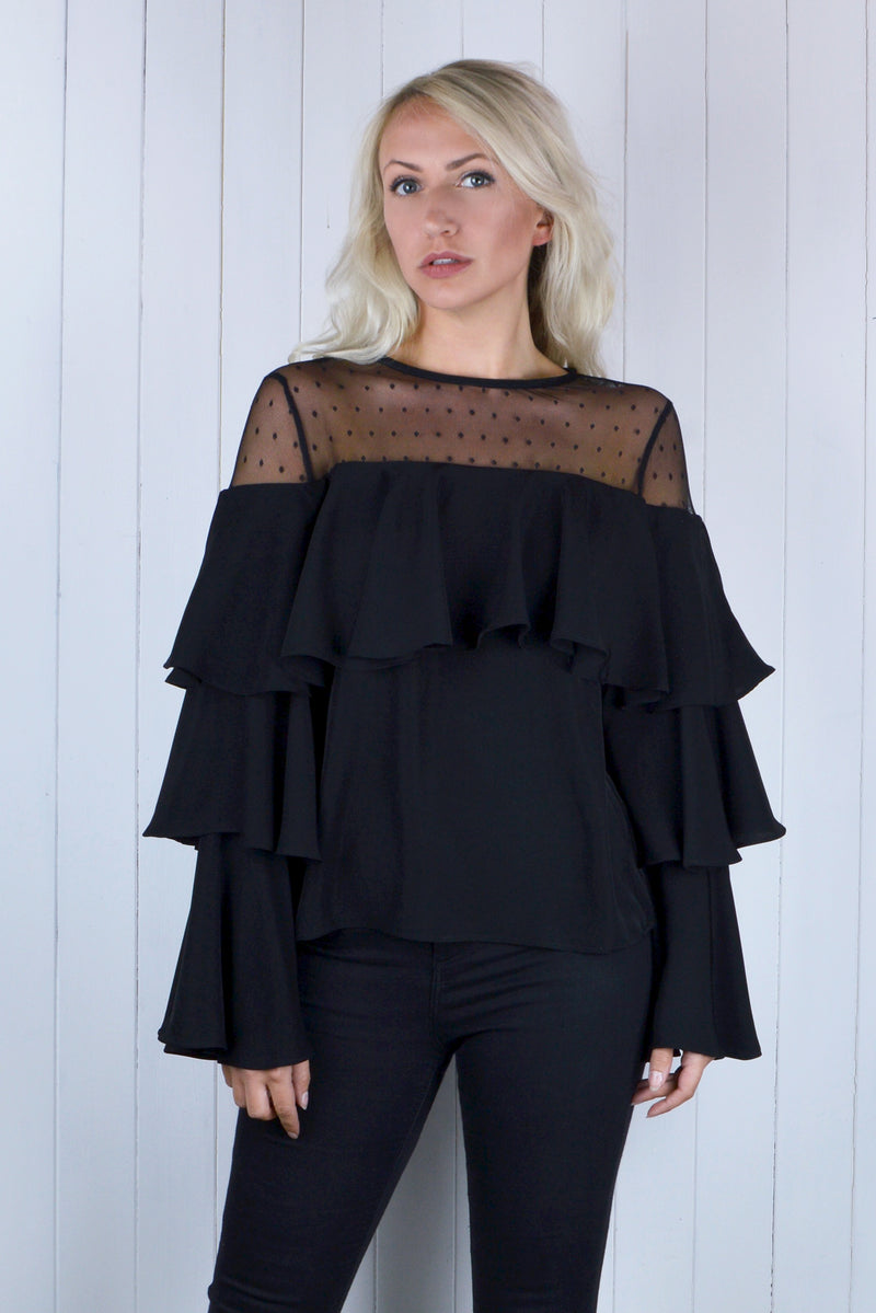 Collette Tiered Frill Sleeve Top