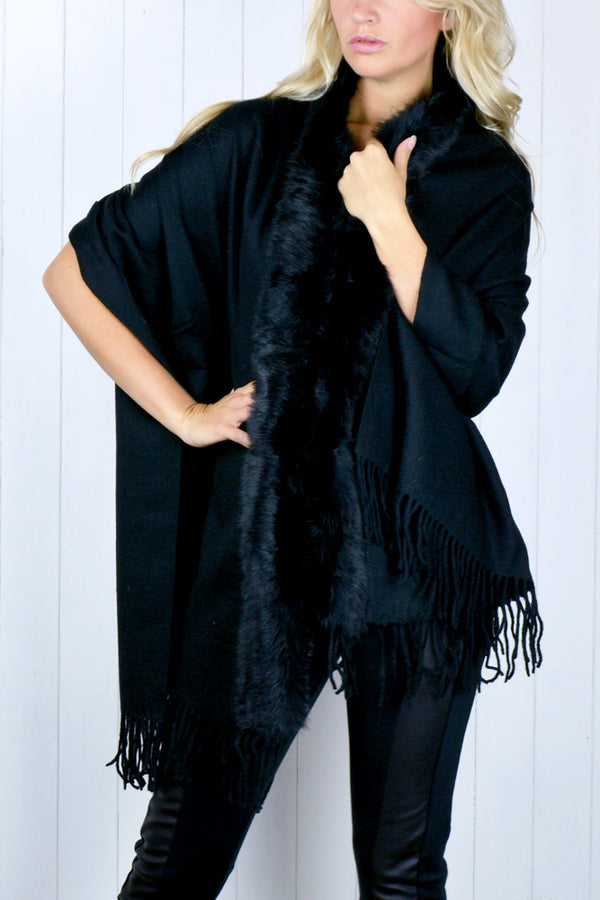 Black Fur Trim Shawl