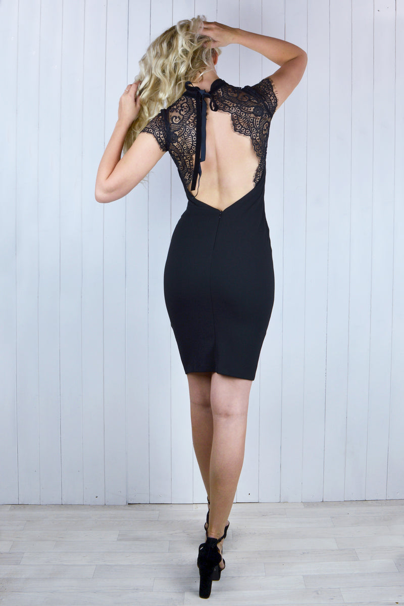 Priscilla Lace Open Back Dress