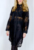 Louise Black Lace Oversize Shirt Dress
