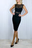 Samantha Sequin Lattice Black Dress