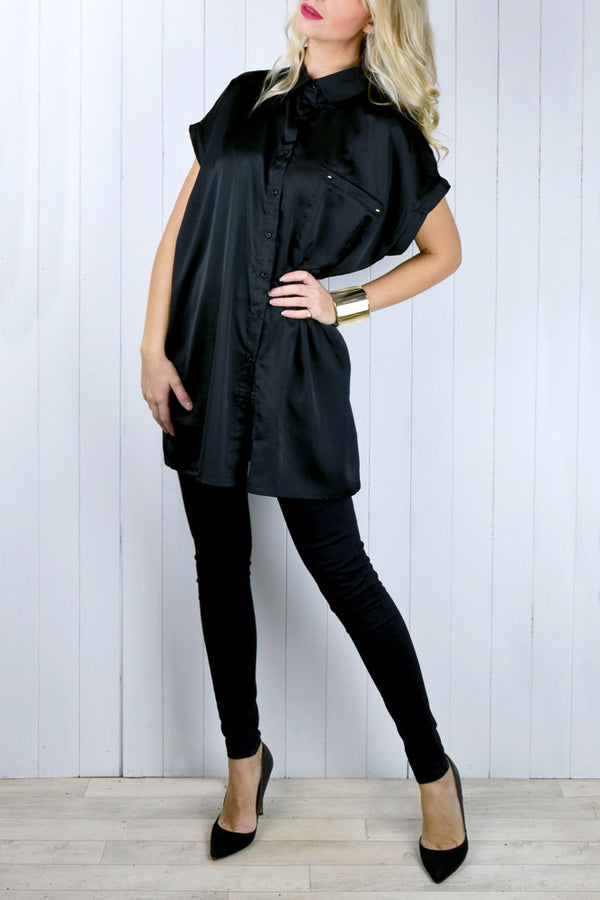 Madison Black Oversized Shirt Dress