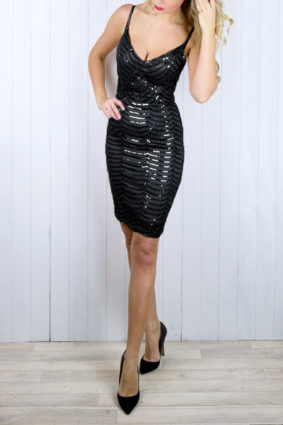Sasha Black Sequin Cami Dress