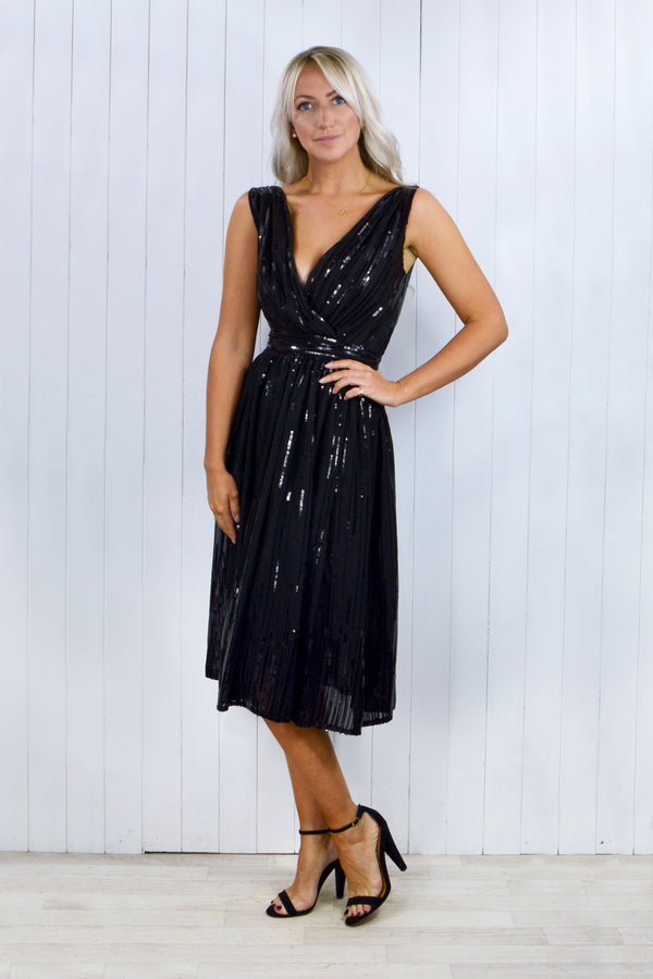 Alice Black Midi Sequin Gathered Dress