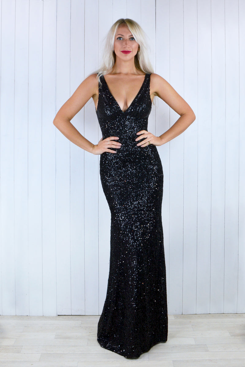 Claudia Black Sequin Plunge Dress