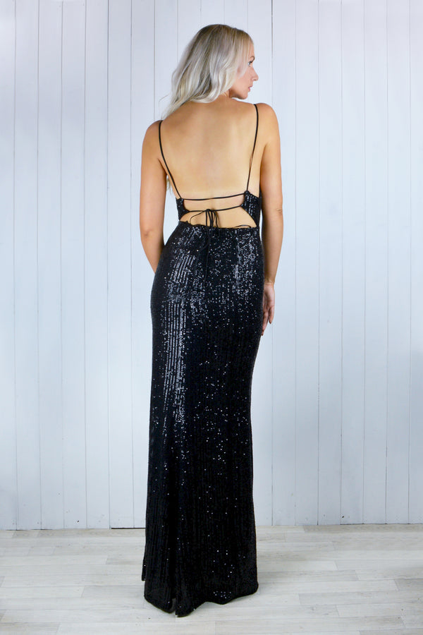 Rhianna Black Sequin Split Backless Maxi Dress