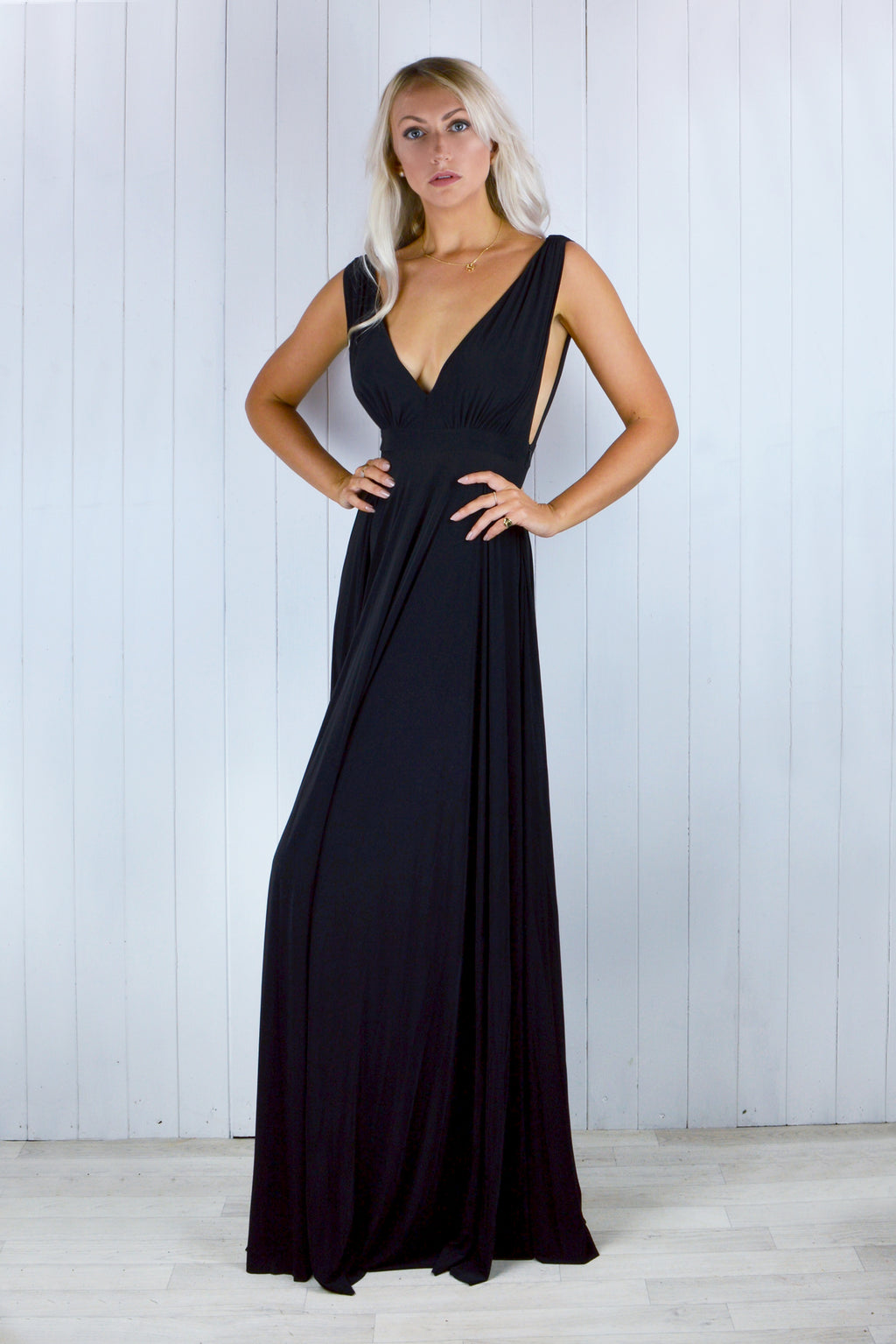 Zola Pleated Maxi Dress in Black