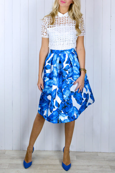 Emma Blue & White Flared Skirt - Size 12