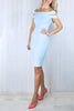 Carly Powder Blue Bardot Dress