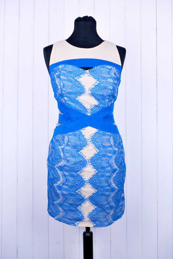 Blue Lace Bandage Lace Dress - Size 12