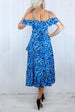 Angelica Wrap Tea Dress - Blue Leopard