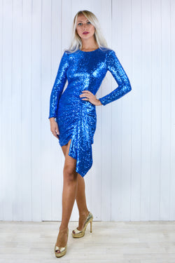 Esmie Electric Blue Sequin Backless Dress