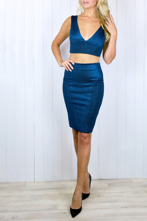 Jessica Two Piece Sparkle Crop Top and Pencil Skirt