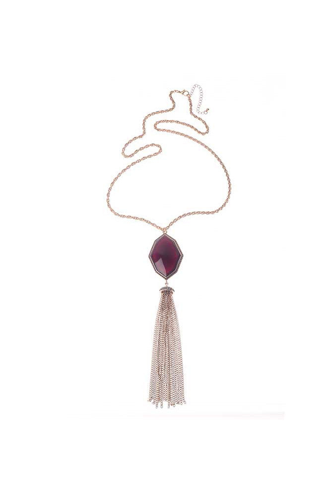 Burgundy Tassel Necklace