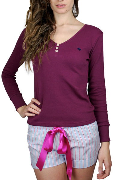 Leonnie Burgundy Henley Jumper
