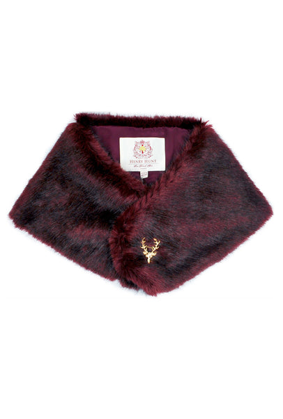Burgundy Faux Fur Stole