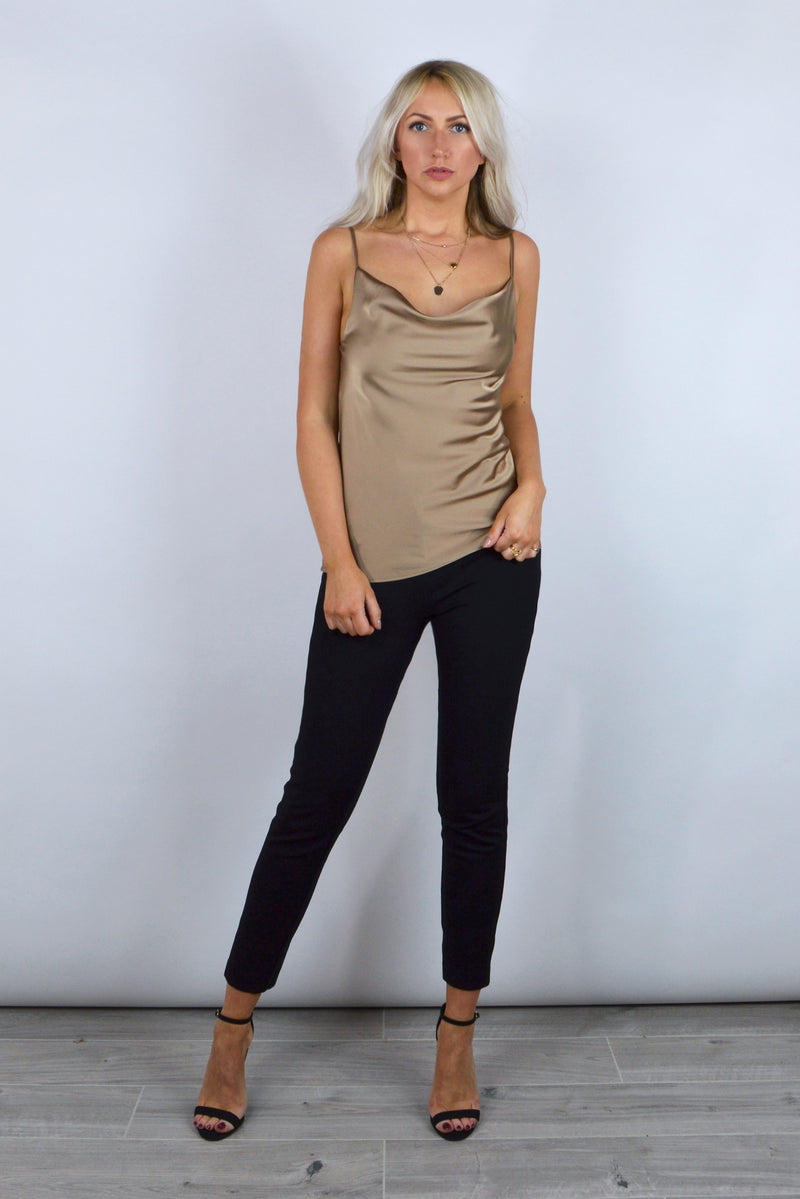 Sally Satin Cowl Neck Cami Top in Camel