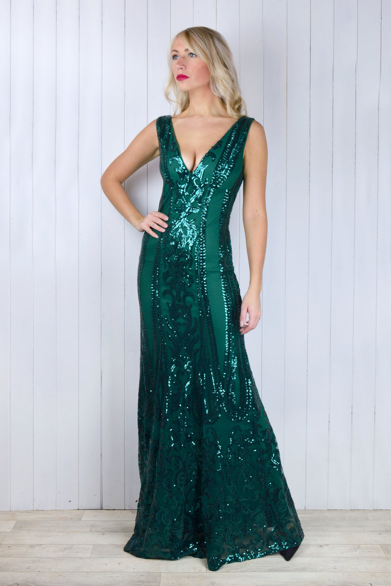Cassandra Emerald Sequin Dress