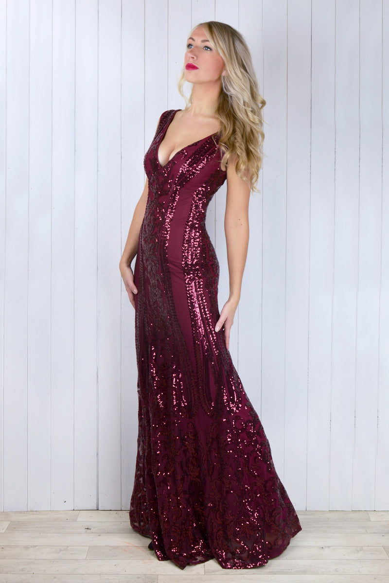 Cassandra Wine Sequin Dress