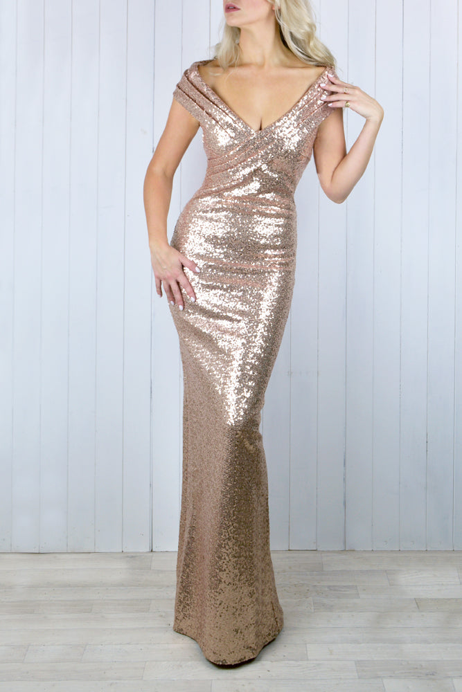 Diana Bardot Rose Gold Sequin Dress
