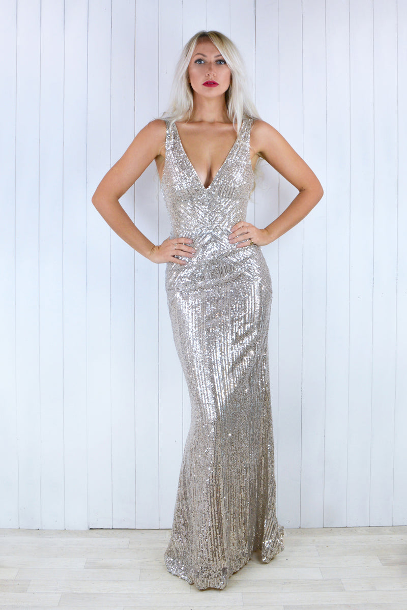Claudia Champagne Sequin Plunge Dress