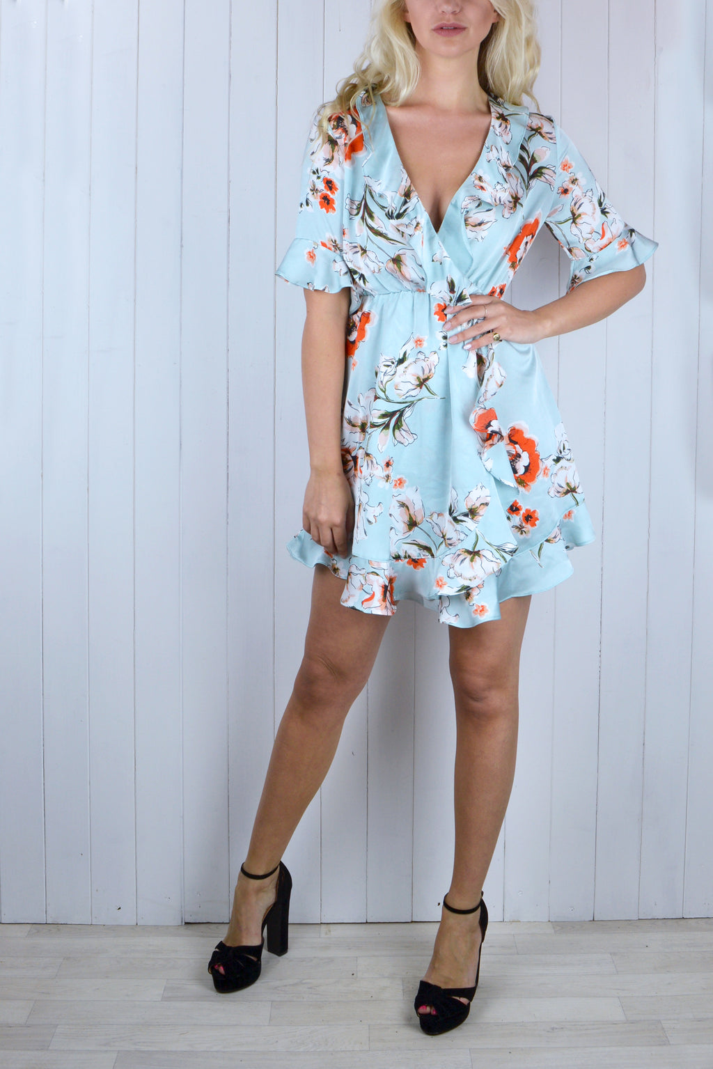 Clare Floral Frill Dress - Blue