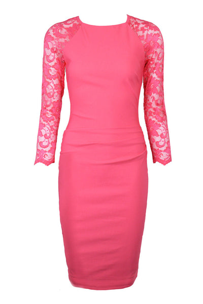 Ava Coral Lace Dress - Size 16