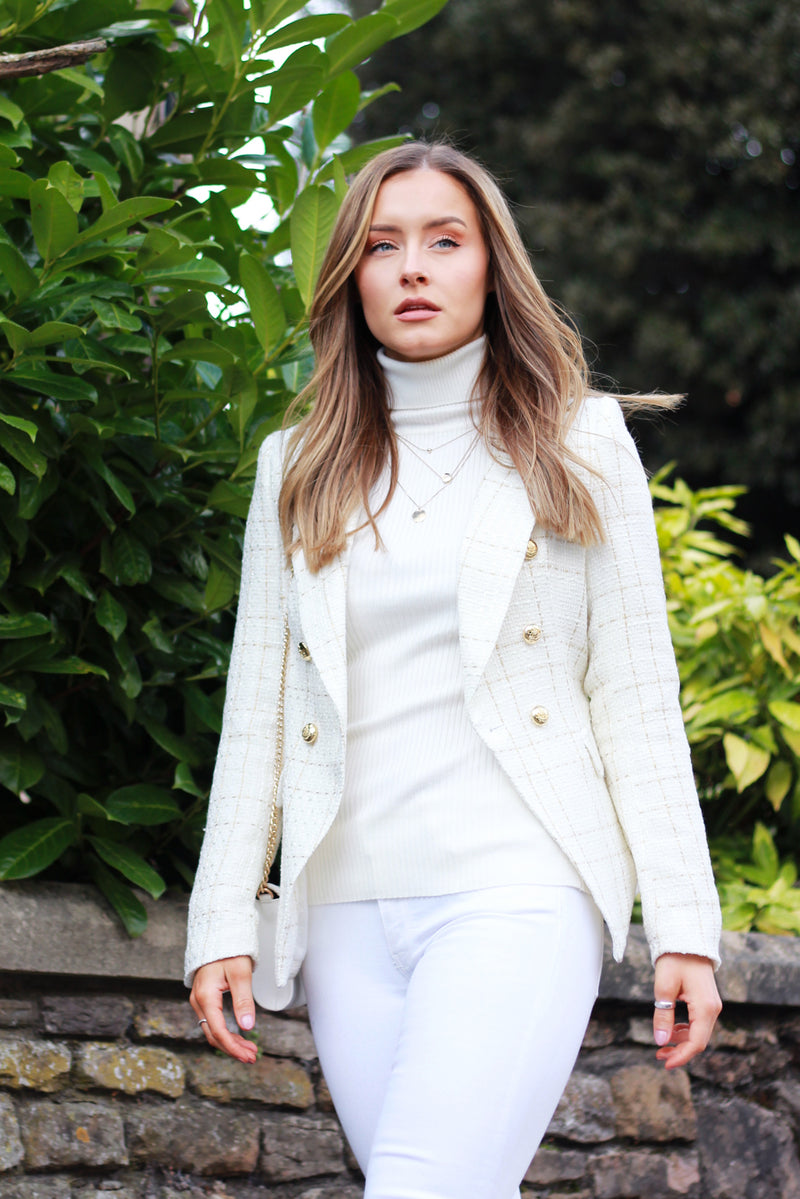 Connie Double Breasted Check Tweed Blazer in Cream