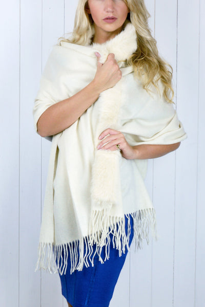 Cream Fur Trim Shawl