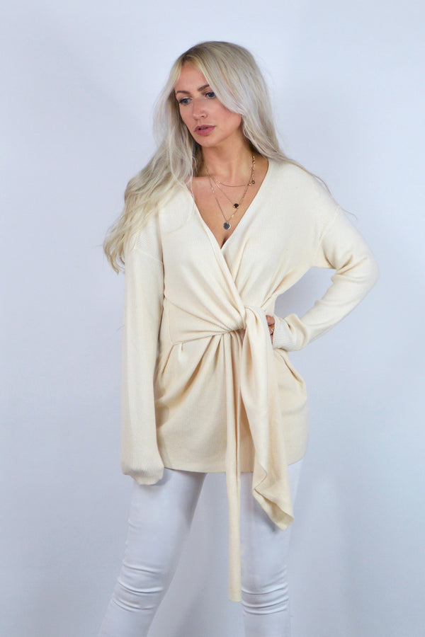 Poppy Tie Waist Longline Jumper in Cream