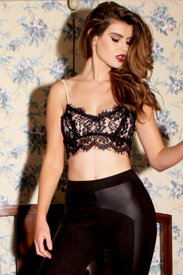 Black and Nude Lace Crop Top Bralet