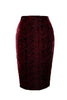 Wine Devore Pencil Skirt - Size 8