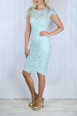 Bianca Lace Dress - Duck Egg